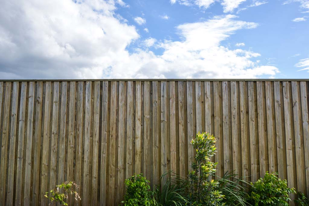 Urban Retaining Wall, Fencing and Landscaping project - timber fence