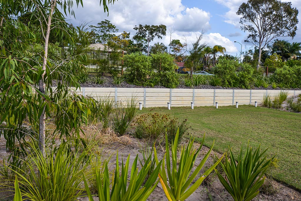 Urban Retaining Wall, Fencing and Landscaping project - concrete sleeper retaining wall and landscaping