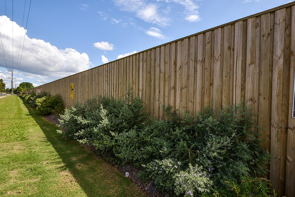 Urban Retaining Wall, Fencing and Landscaping project - timber fence with landscaping