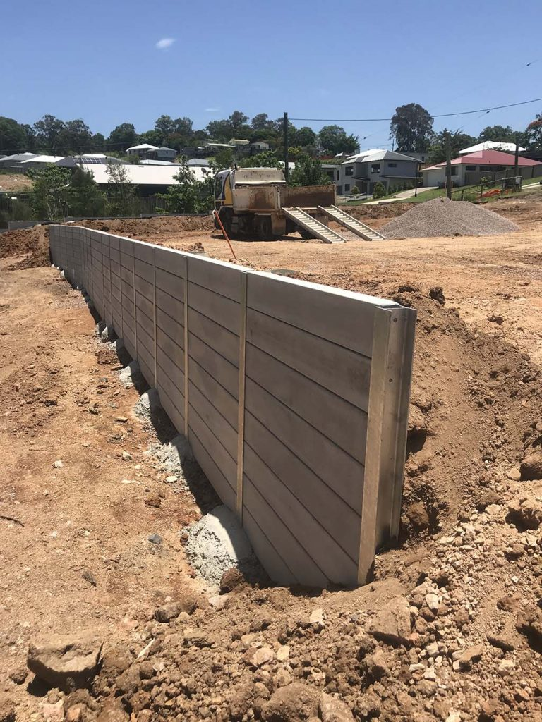 Yandina project precision retaining wall work